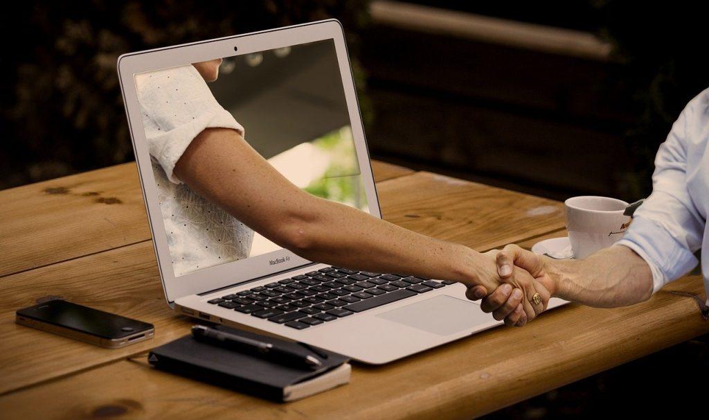 handshake, hands, laptop
